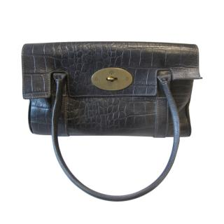 Mulberry small black bayswater croc embossed bag