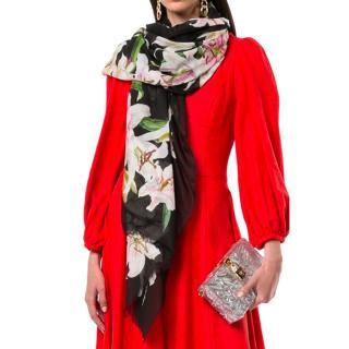 Dolce & Gabbana Lily Print Silk Wrap Scarf