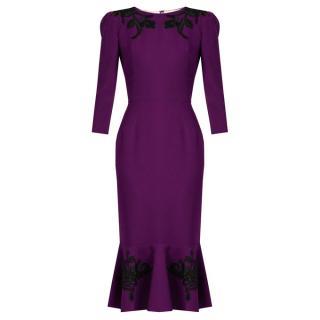 Dolce & Gabbana Floral Applique Wool Dress