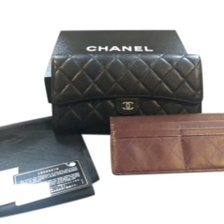 Chanel Black Caviar Leather travel Wallet/Clutch