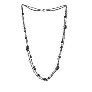 Tasaki Sterling Silver Pearl & Hematite Chain Necklace