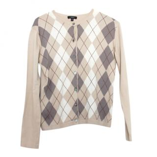 Burberry Beige Argyle Knit Cardigan
