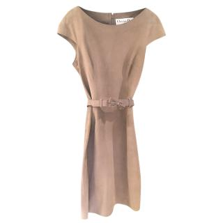 Christian Dior Lambs Suede Fitted Belted Dress