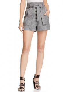 Maje Grey Check Print Iraime Shorts