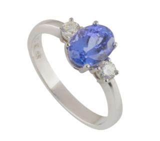 Bespoke Platinum Set Tanzanite & Diamond Ring