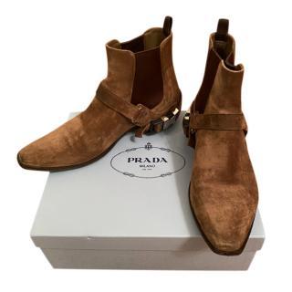 Prada Brown Suede Cowboy Boots