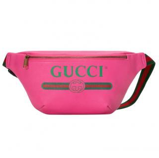 Gucci vintage print pink leather belt bag