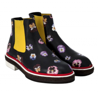 Christopher Kane Black Digital Pansy Print Boots