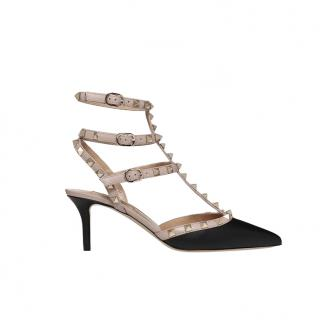 Valentino Black & Nude Rockstud Caged Pump 65mm