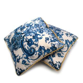 Roberto Cavalli Home Blue Silk Tile Print Set of 2 Cushions