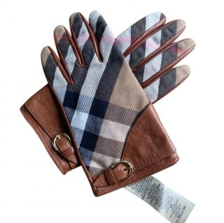 Burberry Tan Leather Check Gloves
