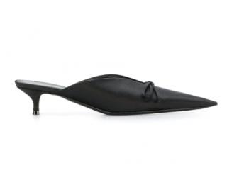 Balenciaga Black Satin Knife Mules