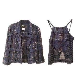 Chanel Blue Tweed Lightweight Cami Top & Jacket