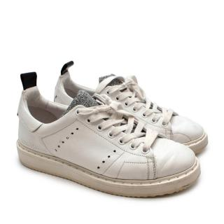 Golden Goose White & Glitter Leather Starter Sneakers
