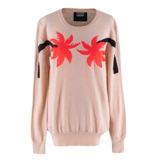 Markus Lupfer Cream Wool Palm Trees Intarsia Knit Sweater