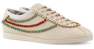 Gucci Falacer Leather Crystal Trim Sneakers