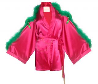 Maguy de Chadirac silk marabou trim short kimono
