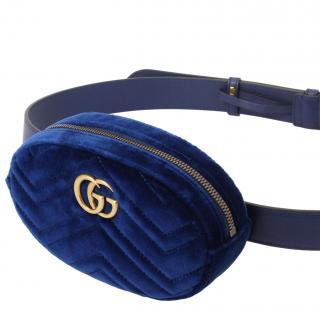 Gucci Marmont Blue Velvet Belt Bag
