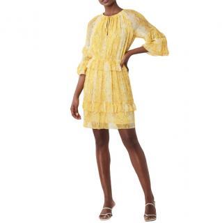 DVF Yellow Haven Silk-Chiffon Drop-Waist Dress