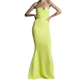 Safiyaa Lemon Yellow Strapless Gown