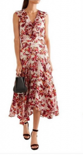 Saloni silk blend floral dress