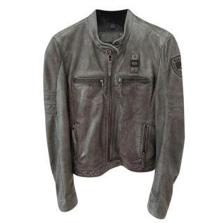 Blauer Distressed Anthracite Leather Biker Jacket