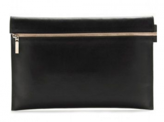 Victoria Beckham Black Leather Zip Pouch