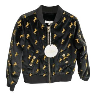 Chloe Black & Gold Velvet Horse Embroidered Bomber