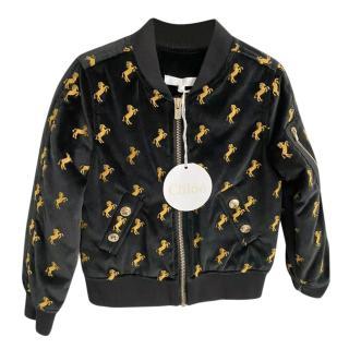 Chloe Black & Gold Velvet Horse Embroidered Bomber
