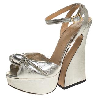 Charlotte Olympia Silver Knotted Farrah Platform Sandals