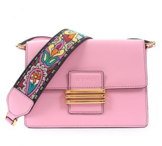 Etro Pink Leather Crossbody Bag with Embroidered Strap