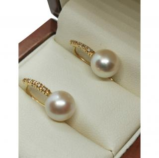 Bespoke pearl and diamond 18ct gold  earrings
