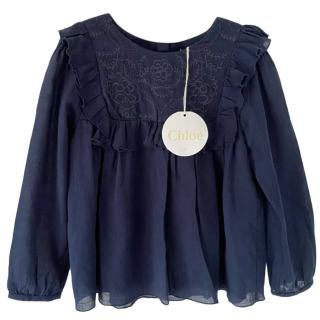 Chloe Blue Ruffled Embroidered Blouse