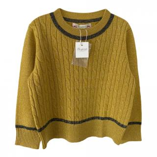 Bonpoint Mustard Yellow Cable Knit Jumper