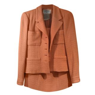 Chanel Vintage Coral Tweed Skirt Suit