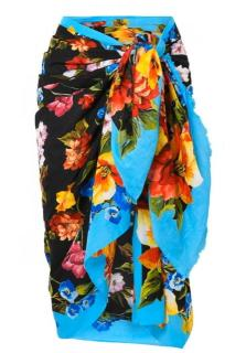 Dolce & Gabbana Blue Floral Wrap Scarf/Pareo