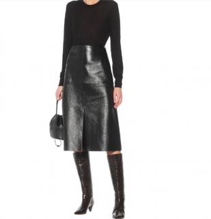 Joseph Black Glossy Leather A-Line Skirt