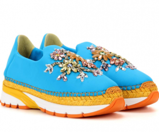 Dolce & Gabbana Blue Neoprene Crystal Espadrille Sneakers