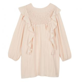 Chloe Kids Lace-panelled ruffled crepe dress