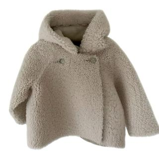 Bonpoint Kids Shearling/Suede Hooded Coat