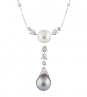 Bespoke White Gold Diamond & Pearl Necklace