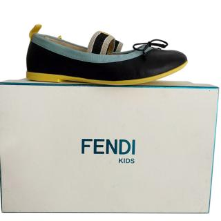 Fendi Kids Leather Canvas Trimmed Elastic Ballerinas