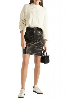 Isabel Marant Coated Silk Black Skirt