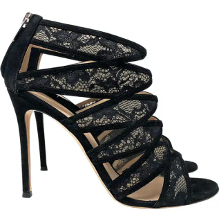 Gianvito Rossi Black Lace Cut-Out Booties