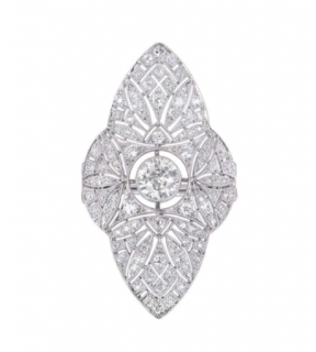 Bespoke Platinum Art Deco Diamond Filigree Dress Ring