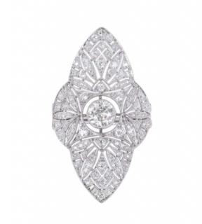 Bespoke Platinum Art Deco Diamond Filigree Dress Ring