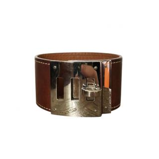 Hermes Brown Leather Kelly Dog Bracelet PHW