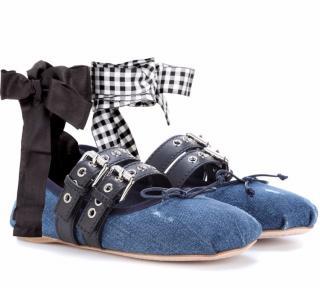 Miu Miu Blue Denim Anklewrap Ballerina Flats
