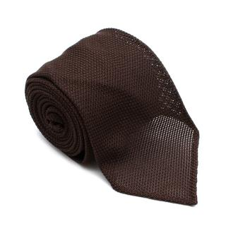 D'Avino Brown Silk Textured Handmade Tie