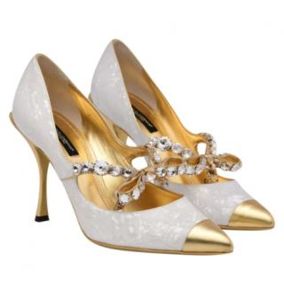 Dolce & Gabbana Lori 90 Mother-Of-Pearl Leather Pumps with Crystal Bow